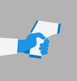 hand holding non-contact digital laser infrared vector image vector image