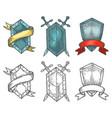 heraldic medieval hand drawn shields sketch vector image vector image