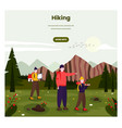 hiking web banner template tourists family vector image