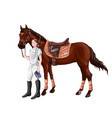 horse and rider girl woman in ammunition for vector image vector image