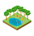 isometric pond with ducks in city park vector image vector image