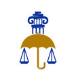 law justice firm umbrella pillar logo design vector image vector image