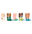 legs in socks female and male feet vector image vector image