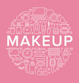 makeup beauty care pink circle poster concept line vector image vector image