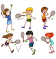 Male and female tennis players vector image vector image