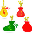 money bag with euro and dollar sign vector image vector image