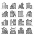 office building architecture icons set on white vector image vector image