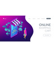 online shopping concept isometric 3d landing page vector image vector image
