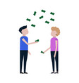 people catch falling money icon vector image vector image