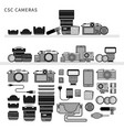 photography equipment flat line line monochrome vector image