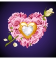 pink roses in shape heart vector image