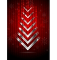 Red Christmas greeting background with silver fir vector image vector image