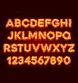 red fluorescent neon font on dark background vector image