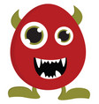 red monster with green horns and legs on white vector image vector image