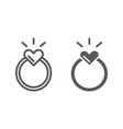 ring line and glyph icon love and jewelry vector image vector image