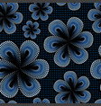 seamless pattern with blue tiare dot flower vector image vector image