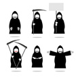 Set deaths in overalls Grim Reaper in different vector image