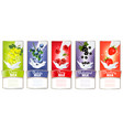 set of labels with fruit and splash of milk vector image vector image