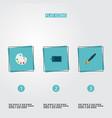 set of original icons flat style symbols with vector image vector image