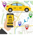 Smartphone with taxi service application vector image vector image