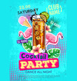 summer cocktail party disco poster in zine style vector image