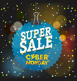 super sale concept the cyber monday blue tag vector image vector image