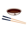 Sushi sauce food and chopsticks vector image vector image