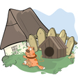 tabby cat and a doghouse cartoon vector image vector image