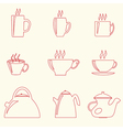 Teacups and teapots vector image vector image