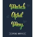 Trendy hand lettering set of spring months Pied vector image