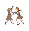 two little girls are fighting with each other vector image vector image