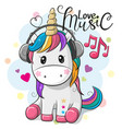 unicorn with headphones on a blue background vector image vector image