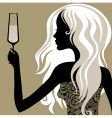 vintage woman with glass of champagne vector image vector image