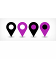 Violet flat map pin sign location icon with shadow vector image