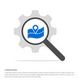 web map pointer search glass with gear symbol vector image vector image