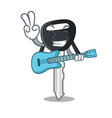 with guitar mascot ilustration featuring on car vector image