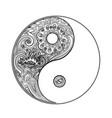 yin and yang decorative symbol hand drawn vintage vector image