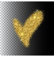 Check-mark icon isolated gold glittering vector image