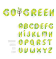 Origami Green Eco Font vector image