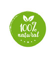 100 percent natural round label green stamp