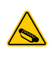 attention hot dog dangers of yellow road sign vector image vector image