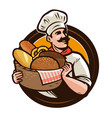 bakery bakehouse logo or label baker with a vector image vector image