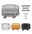 barrel of wine icon in cartoon style isolated on vector image