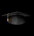 Black graduation cap - mortarboard hat on black vector image vector image