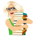 blonde woman hugging stack of books happily vector image vector image