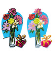 bouquet of a flowers and gift box vector image vector image