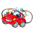 car wash mascot cartoon isolated on white vector image vector image