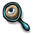 cartoon image of search icon magnifying glass vector image