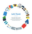 cartoon vacation and travel banner card circle vector image vector image