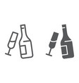 champagne line and glyph icon alcohol and drink vector image vector image